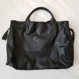 Top Handle Vegan Leather Black Tote With Tousle